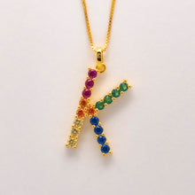 Load image into Gallery viewer, Silver 925 Rainbow Initial Necklace - K