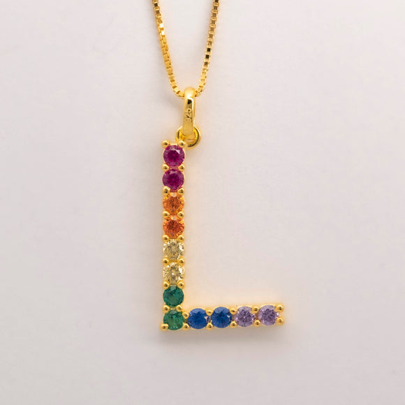 Silver 925 Rainbow Initial Necklace - L