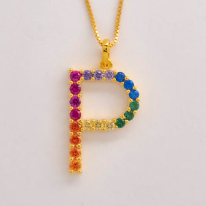Silver 925 Rainbow Initial Necklace - P