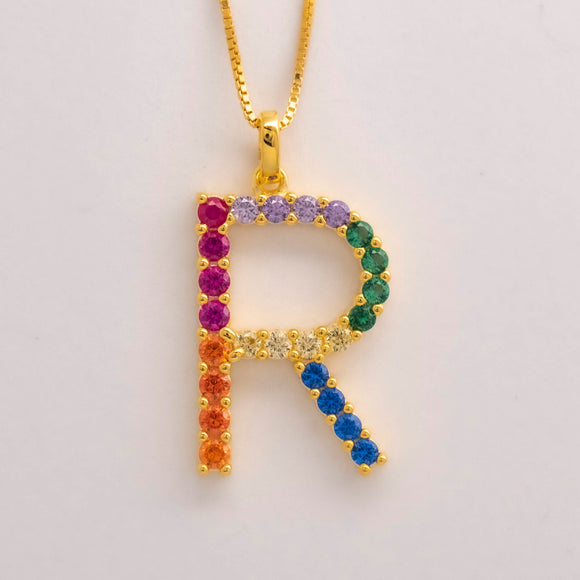 Silver 925 Rainbow Initial Necklace - R