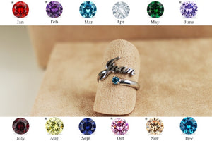Birthstone Personalised Name Ring