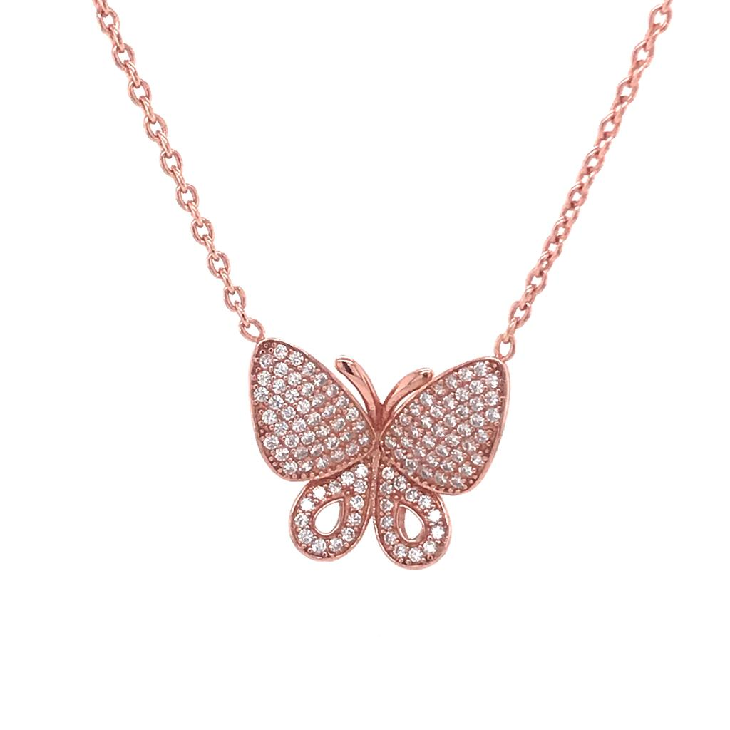 Rose Gold Butterfly Necklace (SET82012NWP)