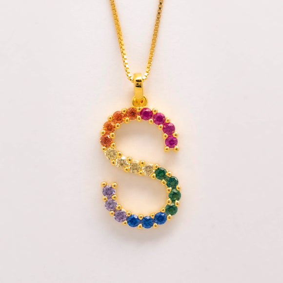 Silver 925 Rainbow Initial Necklace - S