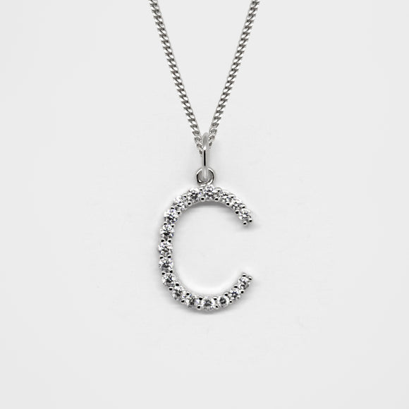 Silver 925 Initial Necklace - C
