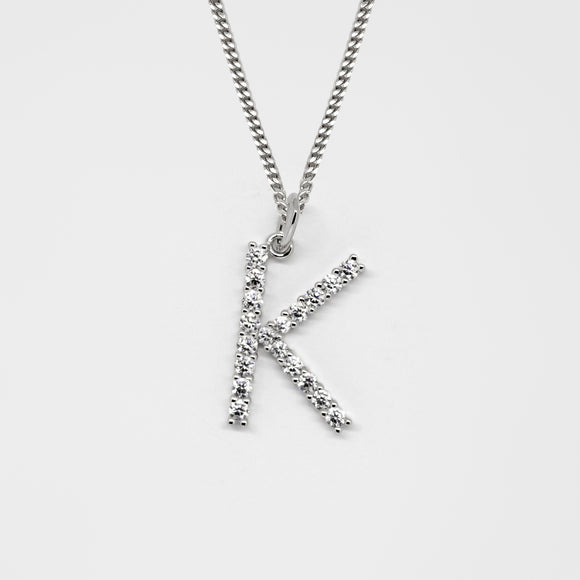 Silver 925 Initial Necklace - K