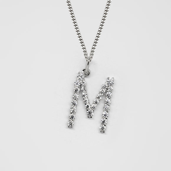 Silver 925 Initial Necklace - M