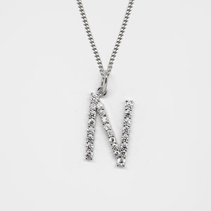 Silver 925 Initial Necklace - N