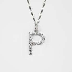 Silver 925 Initial Necklace - P