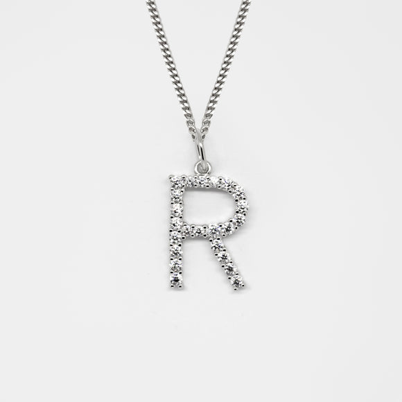 Silver 925 Initial Necklace - R