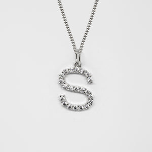 Silver 925 Initial Necklace - S