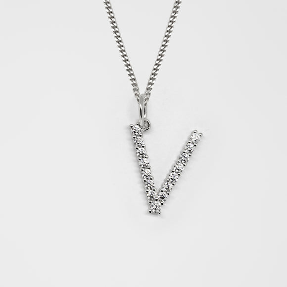 Silver 925 Initial Necklace - V