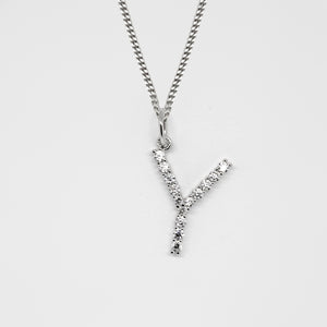 Silver 925 Initial Necklace - Y