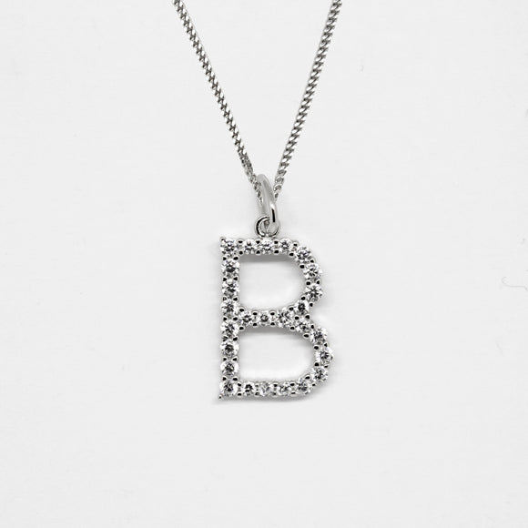 Silver 925 Initial Necklace - B