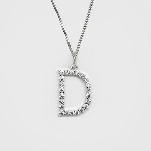 Silver 925 Initial Necklace - D