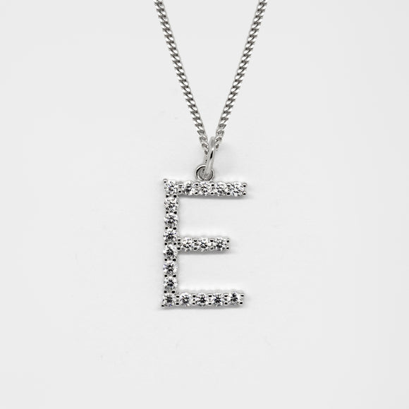 Silver 925 Initial Necklace - E