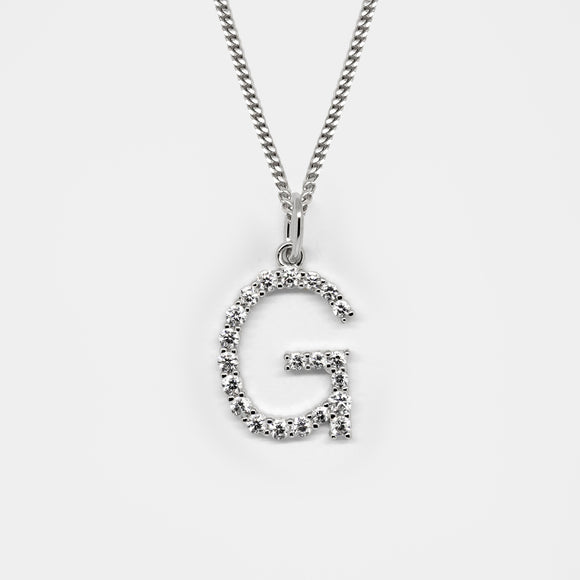 Silver 925 Initial Necklace - G