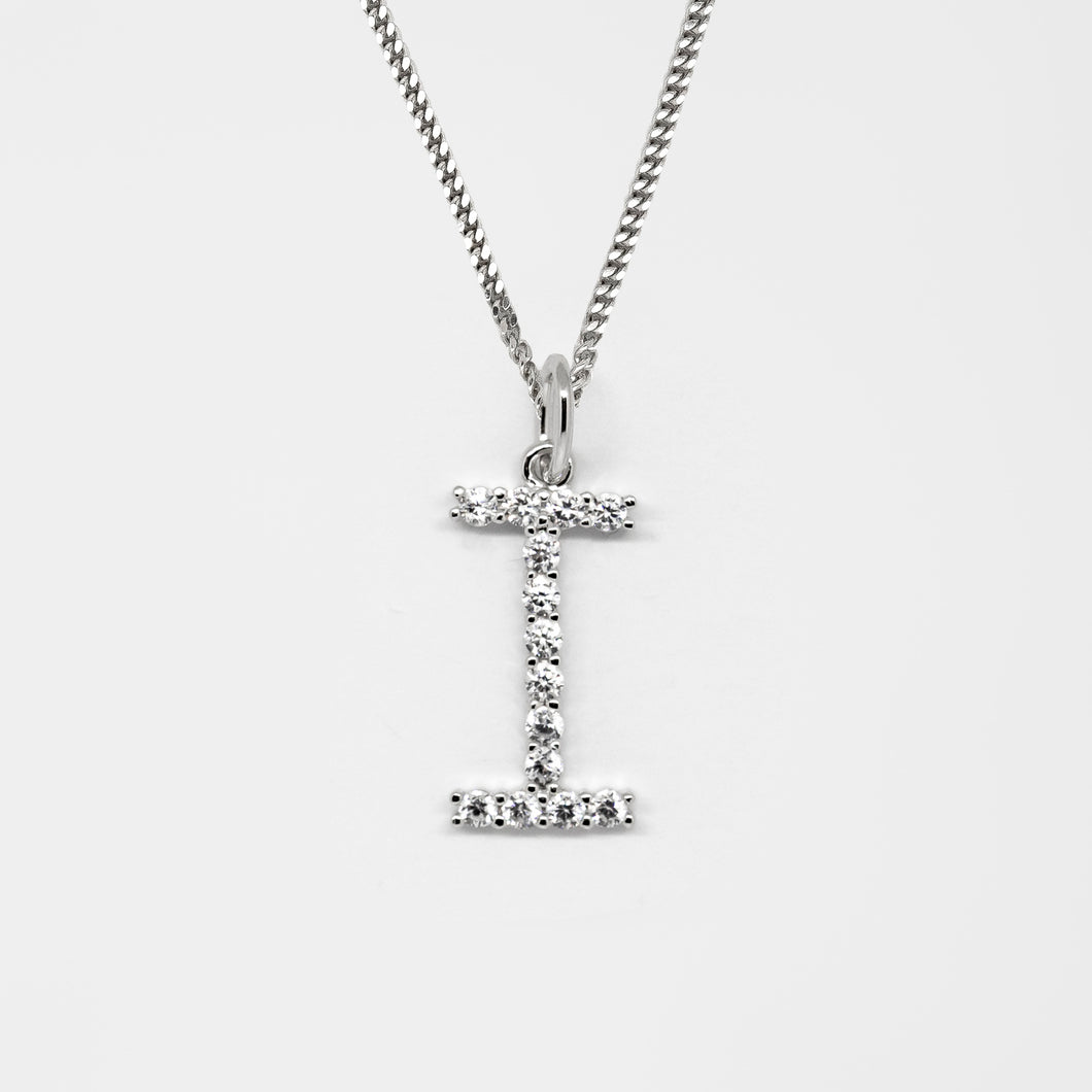 Silver 925 Initial Necklace - I