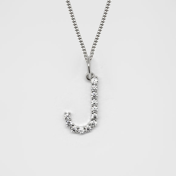 Silver 925 Initial Necklace - J