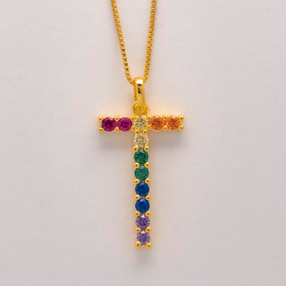 Silver 925 Rainbow Initial Necklace - T
