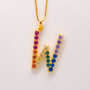 Silver 925 Rainbow Initial Necklace - W