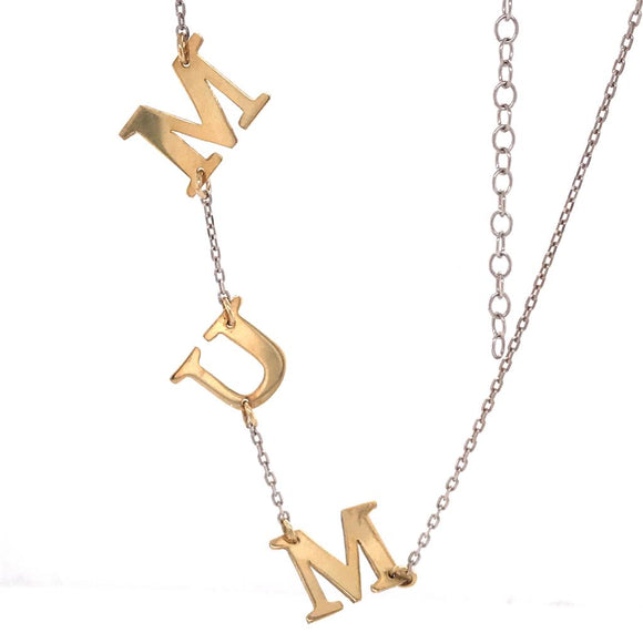 Sideways Mum Two Tone Necklace