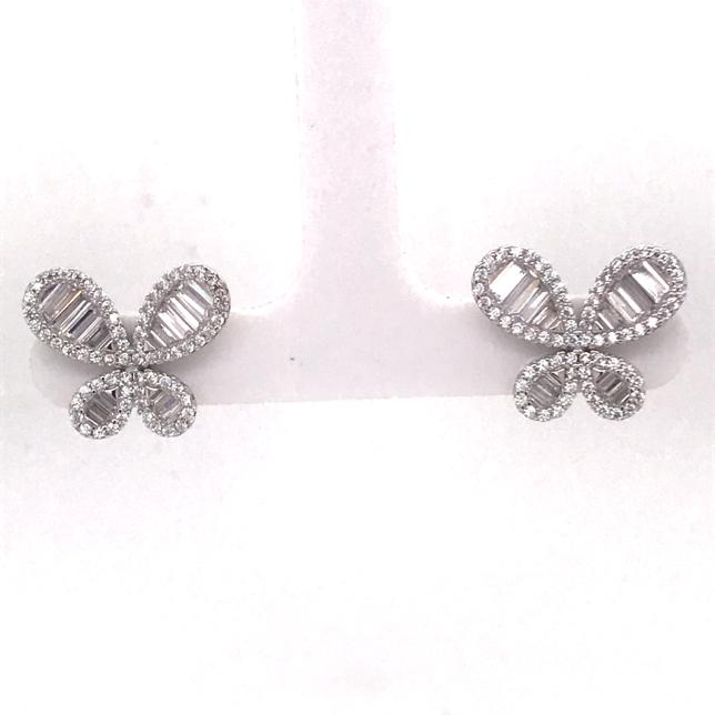 Silver Butterfly Stud Earrings (AES39470W)