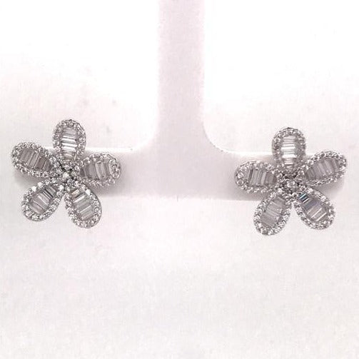 Silver flower stud earrings (SET85843EW-B)