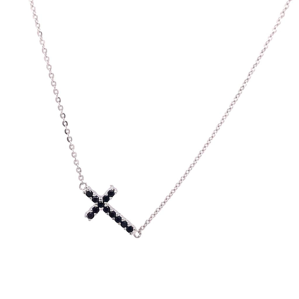 Black Side Cross Necklace (752952)