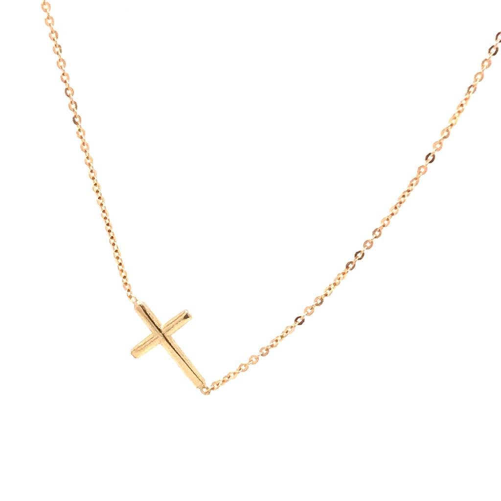 Side Cross Gold Necklace (752951)