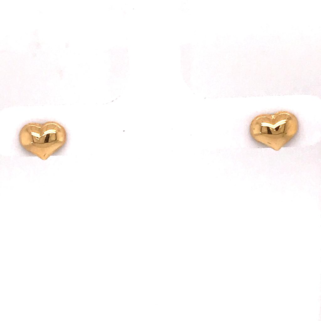 Gold Heart Stud Earrings (28244)