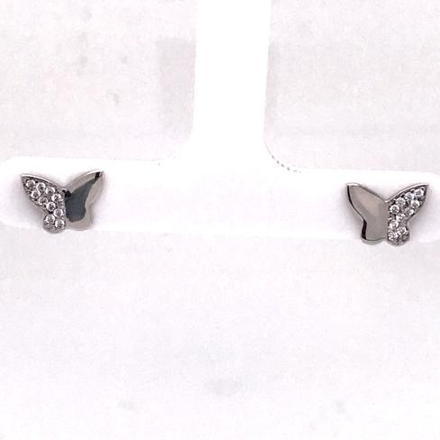 Silver Butterfly Stud Earrings (727513)