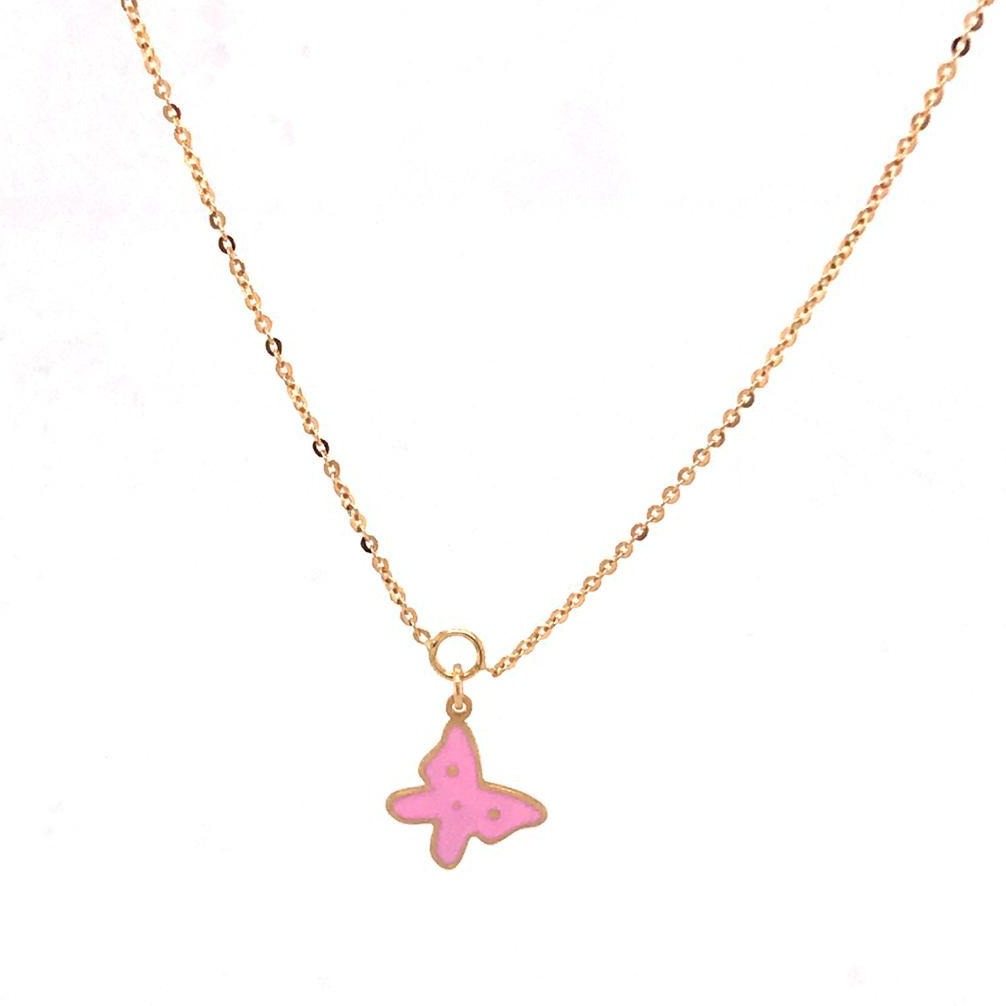 Pink Butterfly Necklace (751004)