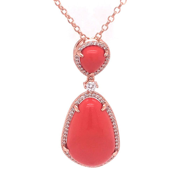 Coral Tear Necklace Silver 925 - 82597PWCRL