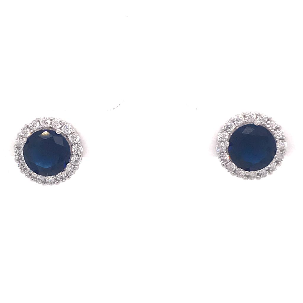 Blue Round Earrings Silver 925 - AES37833W