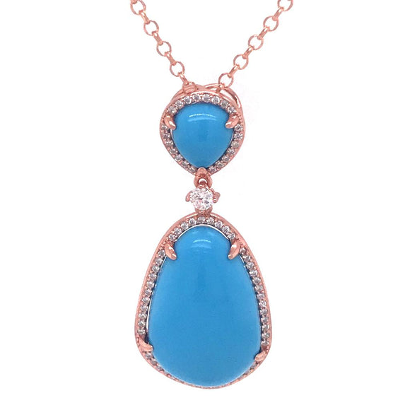 Turquoise Tear Necklace Silver 925 - 82597PWTRQ