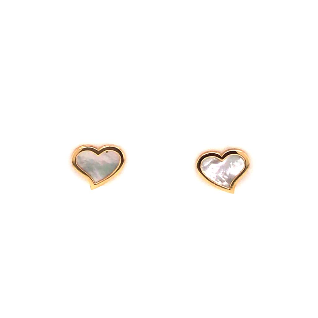 Gold/Mother of Pearl Heart Earrings