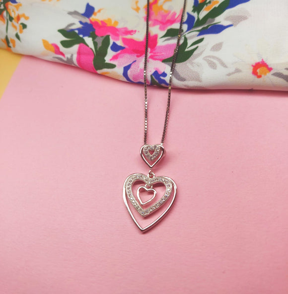 Silver 925 Five Heart Necklace