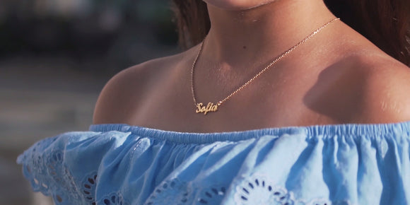 Children's Personalised Name Necklace - 925 Silver Gold Plating