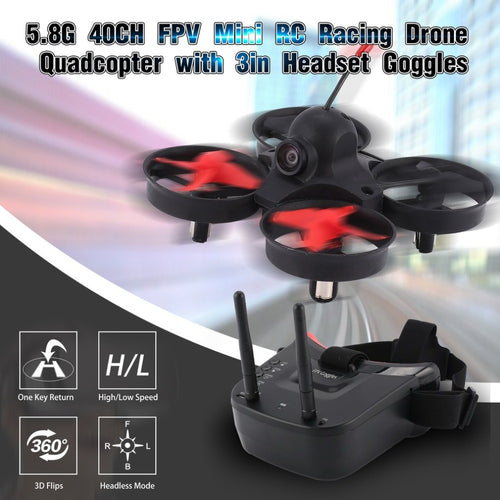 5.8G 40CH FPV Camera Mini Racing Drone with Auto-searching Goggles Receiver Monitor