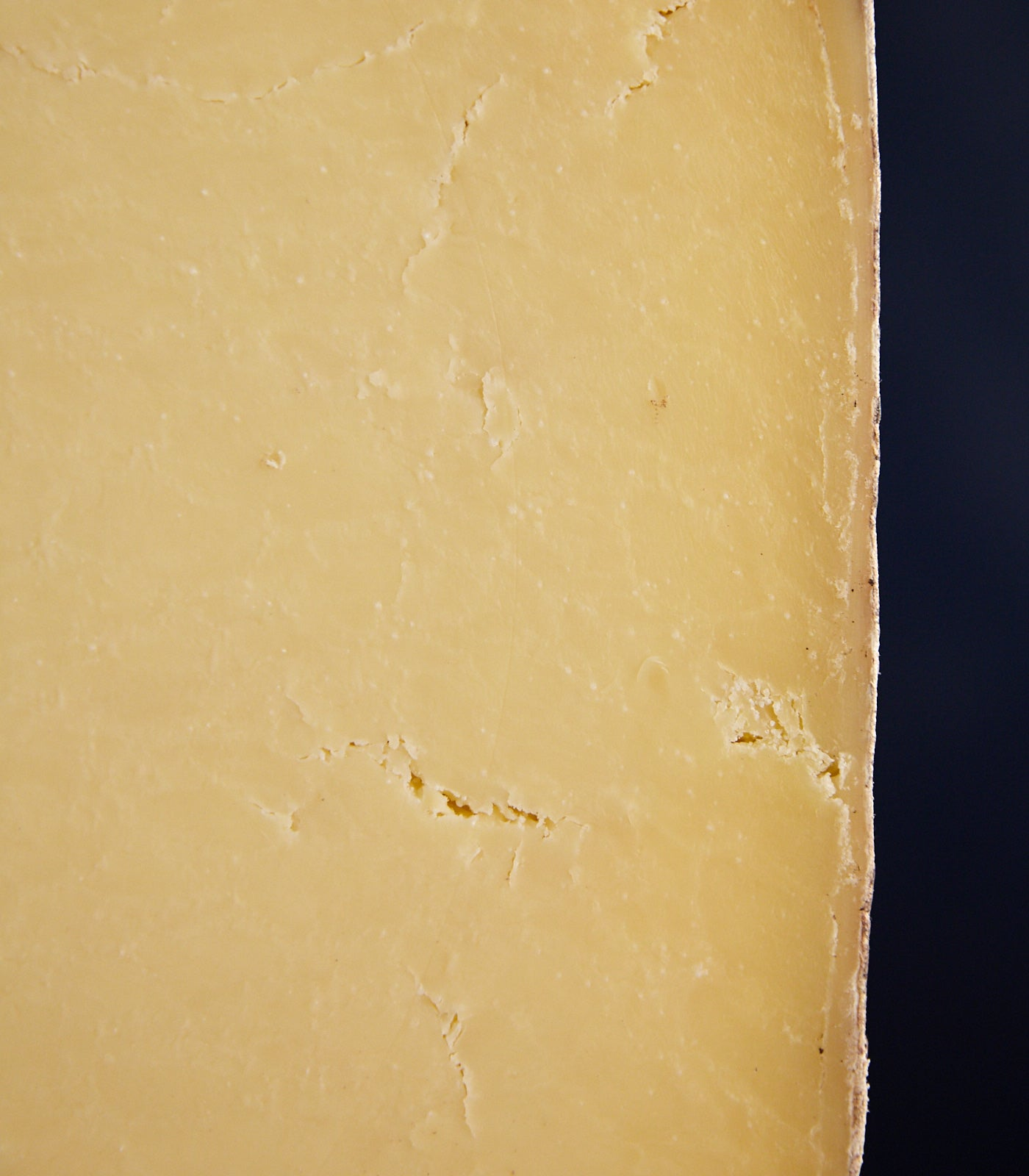 Close up of a cut Montgomery's Cheddar cheese showing the firm but friable paste