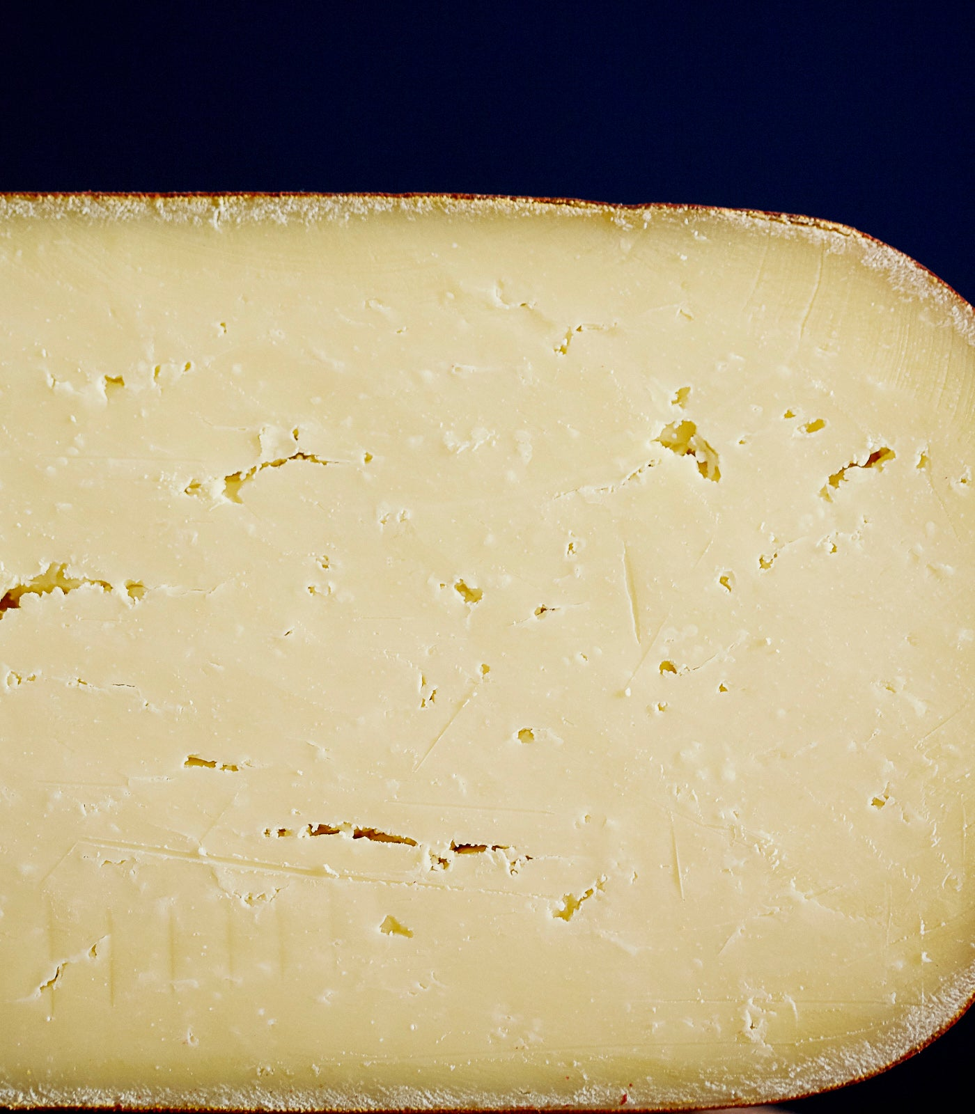 Close up of a cross-section of Doddington raw cow's milk cheese showing the firm, cream-coloured, smooth paste