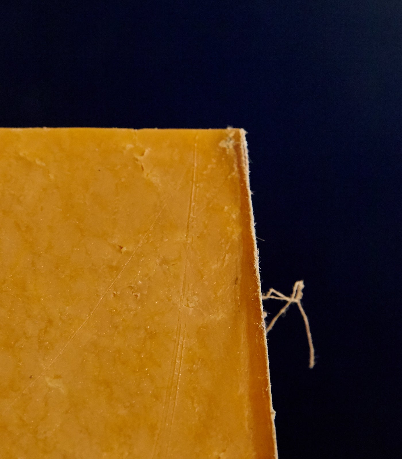 Close up of a cut piece of clothbound Mature Sparkenhoe Red Leicester cheese showing the firm, orange coloured paste