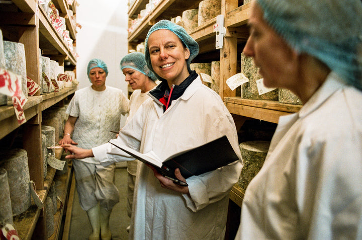 our-work: Our Buyer, Bronwen, selecting cheese at Hafod