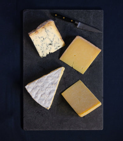 Image: Selection of four cheeses for Father's Day Stichelton Baron Bigod Kirkham's Lancashire Lincolnshire Poacher