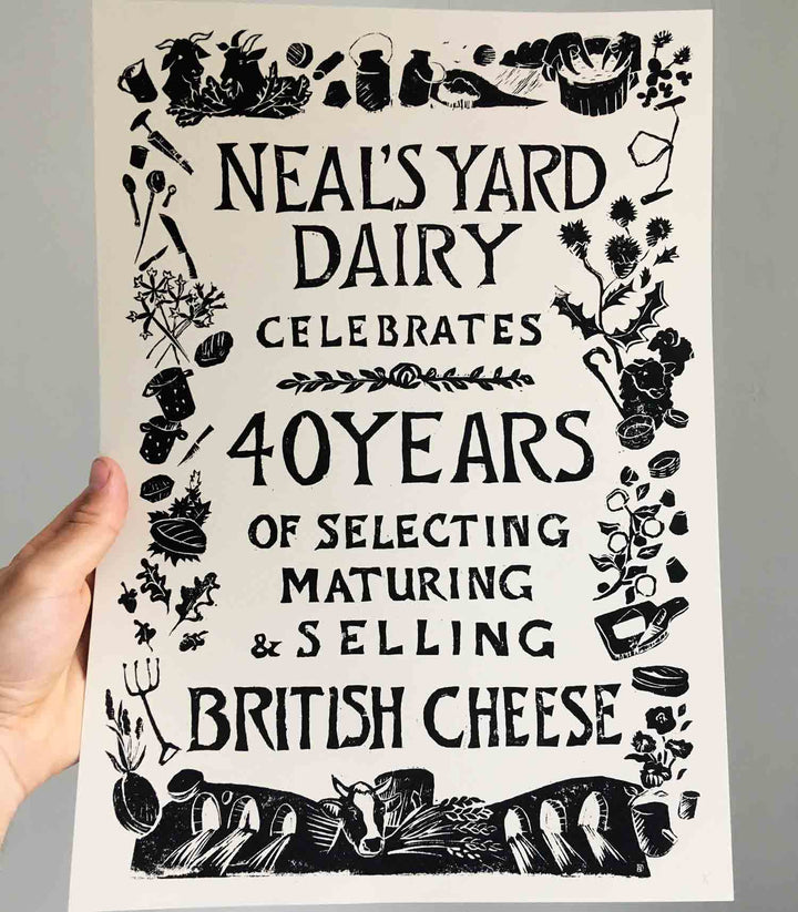 40th Birthday Linocut Screenprint