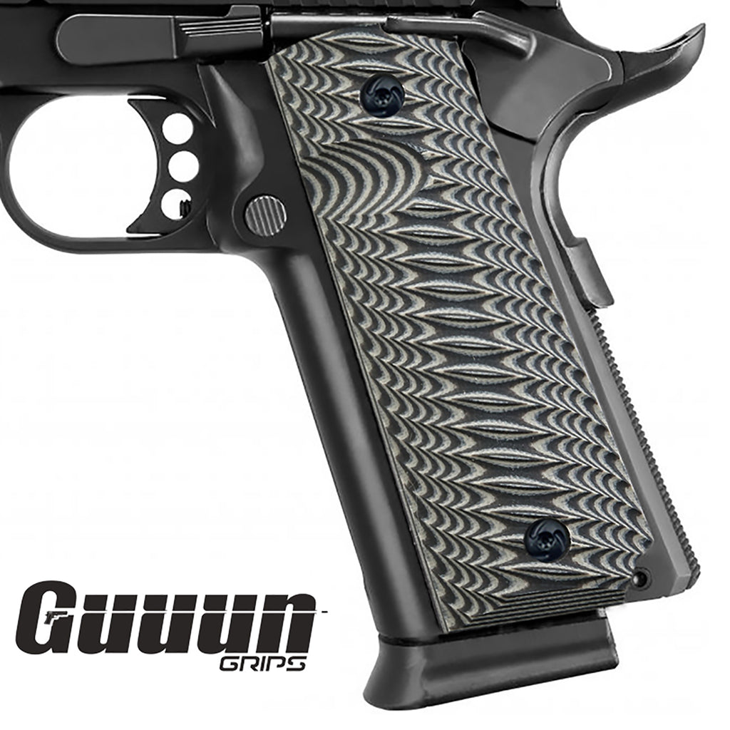 Guuun 1911 Grips G10 Full Size Government Ambi Safety Cut Custom Claw Mark Texture H1-XG - Guuun Grips