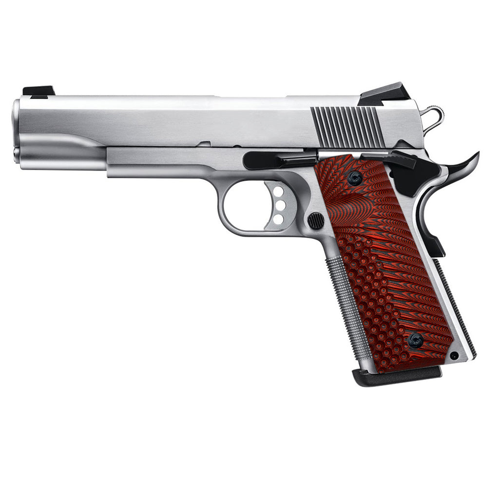 Guuun 1911 Grips G10 Full Size Government Ambi Safety Cut Custom OPS Eagle Wing Texture H1 A - Guuun Grips