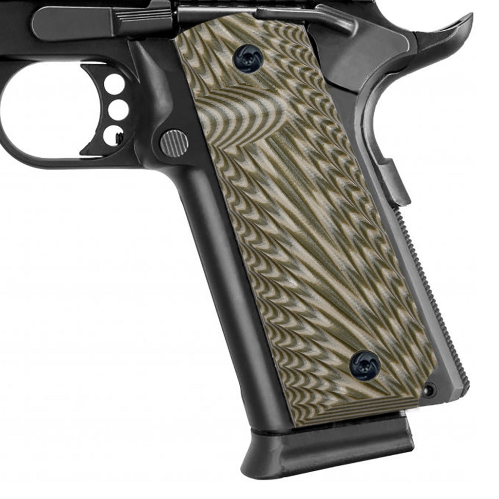 Guuun 1911 Grips G10 Fit Full Size Government and Commander 1911 Starburst Texture Ambi Safety Cut H1-F - Guuun Grips