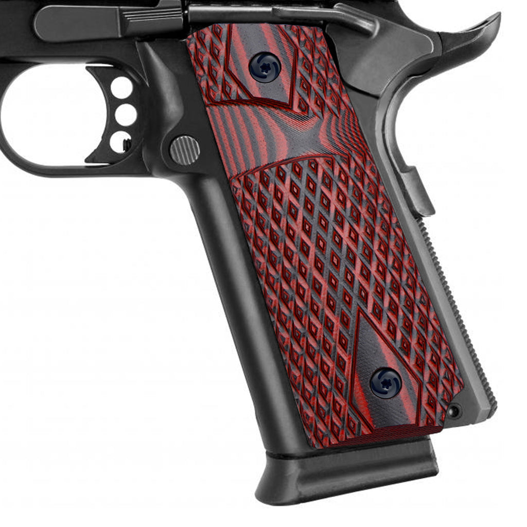 Guuun 1911 Slim Grips G10 Grips for 1911 Full Size, Diamond Cut Big Scoop Texture Fit for Most Government Commander 1911 Pistol H1S-DM2 - Guuun Grips