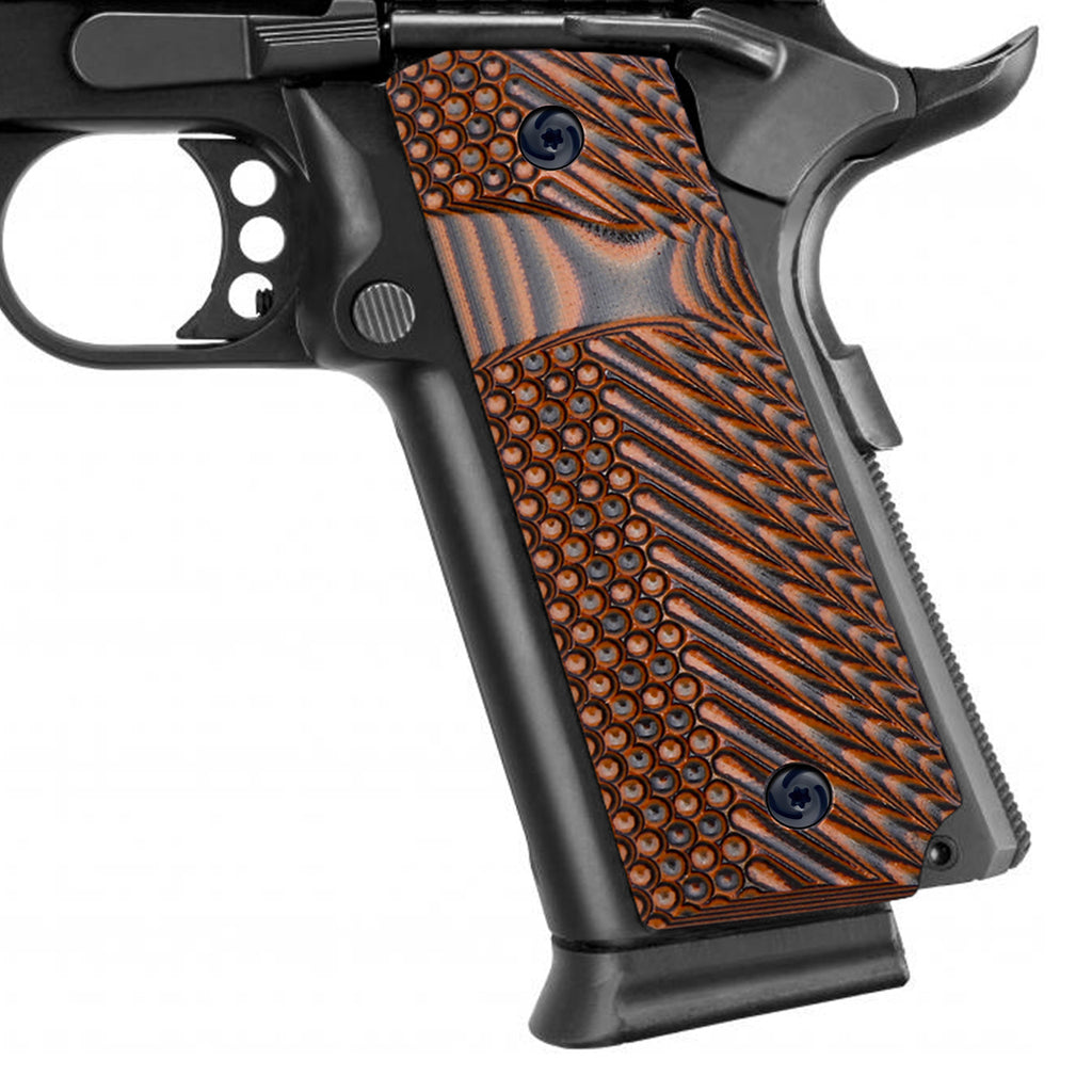 Guuun 1911 Slim Grips G10 Grips for 1911 Full Size, OPS Tactical Texture Big Scoop Texture Fit for Most Government Commander 1911 Pistol H1S-LX - Guuun Grips